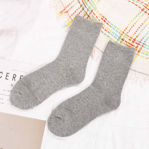 Men Fashion Solid Color Happy Hip Hop Street Skater Socks Winter Thickening Warm Wool Casual Cotton Socks Male Hosiery Autumn-geekbuyig