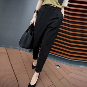 Casual Pants Women New Hot Fashion Women Fashion Ankle -Length Trousers Female Classic Mid Elastic Waist-geekbuyig