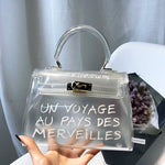 Cool and beach transparent bag women big clear orange pvc Transparent Women Plastic Bag PVC Jelly Handbags Letter Printing Bag-geekbuyig
