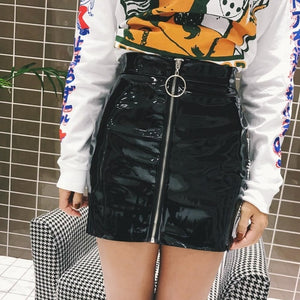 Women Skirt Casual Zip Faux Leather Pencil Bodycon Above Knee Mini Skirt Plus Size Faldas Mujer Jupe Femme-geekbuyig