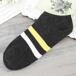 Breathable Ankle High Men Stretchy Stripe Length Daily Cut absorbent Sweat Regular 1 Socks Short Low Casual Pair-geekbuyig