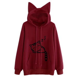 Fashion Cat Ear Hooded Sweatshirts Tops Womens Cat Printed Long Sleeve Hoodies Pullovers H34-geekbuyig