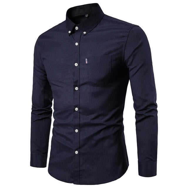 Plus Size 5XL New Oxford Fabric 100% Cotton Excellent Comfortable Slim Fit Button Collar Business Men Casual Shirts Tops-geekbuyig