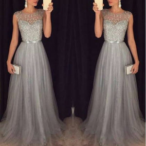 Fashion Sequin Patchwork Dress 2018 Evening Party Sleeveless O Neck Long Belt Slim Elegant Dress Women Maxi Vestidos sukienki-geekbuyig