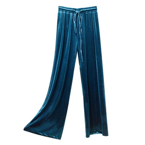 Girl long pants Elastic waist down velvet wide Broad leg women pant female 2018 new casual loose 12 colors Easy Downloading 901-geekbuyig