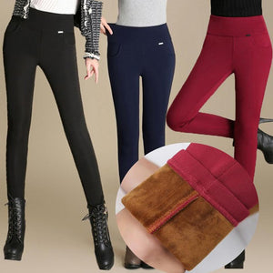 2018 Women High Waist Pencil Pants Fleece/No Fleece Warm Trousers Female Velvet Trousers Big Sizes white black Stretch Leggings-geekbuyig