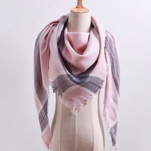 2018 new brand women scarf fashion plaid soft cashmere scarves shawl lady wraps designer Triangle warm Wholesale knitted bandana-geekbuyig