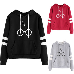 Harajuku Women Hoodies Tops Glasses Printed Hooded Sweatshirt Streetwear Casual Female Drawstring Long Sleeve Pullover Moletom-geekbuyig
