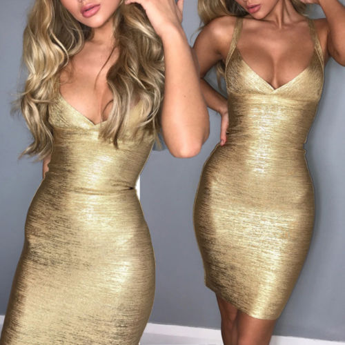 2018 New Sexy Women Summer Gold Dress V Neck Clubwear Strappy Sleeveless Bodycon Dress Evening Party Beach Slim Short Mini Dress-geekbuyig