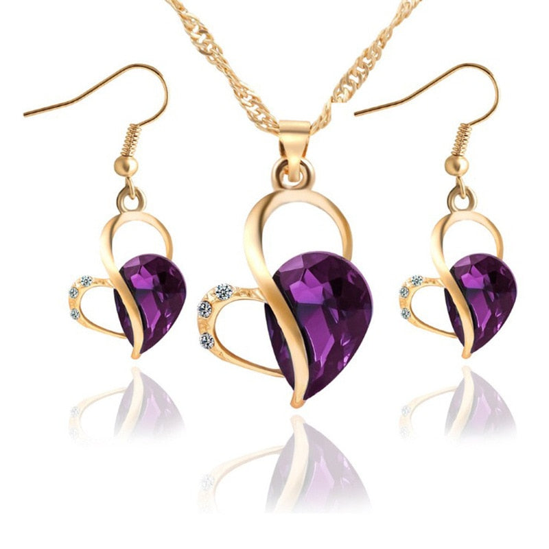 New Fashion 18K Gold Luxury Crystal Necklace Earrings Jewelry Sets Charm Women Party Accessories Exquisite Gifts-geekbuyig