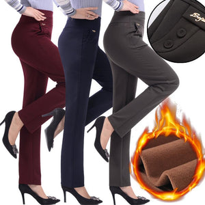 2018 New winter women plus velvet pants casual trousers high waist women warm straight Spants plus size 5XL r92-geekbuyig