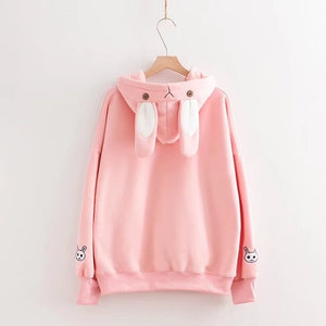 Rabbit Sweet Kawaii Sweatshirt Women Loose Hoodie Thicken Autumn Tops Jacket Harajuku Hoody-geekbuyig