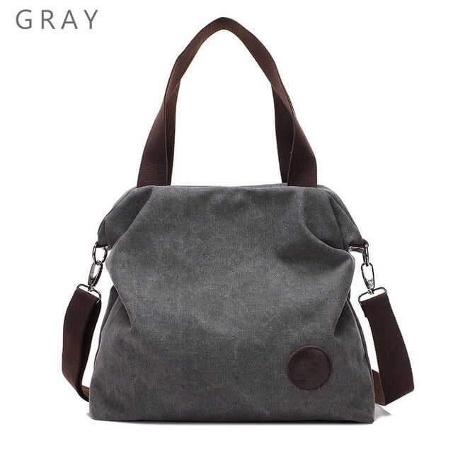 2018 Kvky Brand Large Pocket Casual Tote Women's Handbag Shoulder Handbags Canvas Leather Capacity Bags For Women-geekbuyig