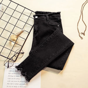 2018 Ripped Skinny Pencil Jeans Woman Plus Size High Waist Mom Stretch jeans Ladies Denim Pants Trousers Women jean femme-geekbuyig