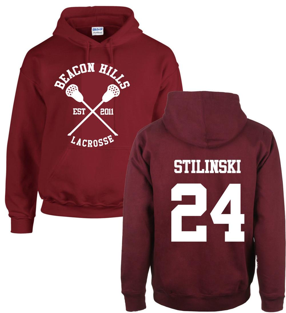 Fashion Teen Wolf Hoodies Beacon Hills Lacrosse Stiles Stilinski Hoody Girl Boy Adults Fleece Sweatshirt Maroon Unisex-geekbuyig