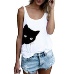 Casual Polyester U-neck Summer Tank Tops Women Sleeveless Cat Print Comfortable Vest Fashion Tank Tops-geekbuyig