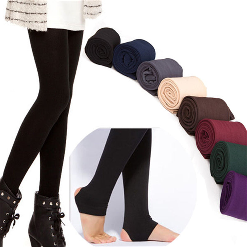 Autumn Winter Women Thick Warm Legging Brushed Lining Stretch Fleece Pants Women Trample Feet Leggings-geekbuyig