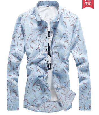 MLXSLKY Flower shirt male long sleeve spring printed casual floral shirt youth men's casual long sleeve shirt-geekbuyig