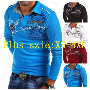 Zogaa Men Polo shirt long sleeve PLUS SIZE S-4XL Men's Fashion Personality Cultivating Long-sleeved Shirt POLO Full sleeve POLO-geekbuyig