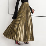 2018 New Summer Suede Skirt gold silver Long striped elasticity Pleated Skirts Womens Saias Midi Faldas Vintage Women Midi Skirt-geekbuyig