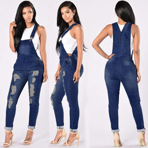Women's Overalls Spring Basic Denim Pants Female Denim Autumn Casual Jeans Jumpsuit Hole Pants Jeans Large Size Ripped#2-geekbuyig