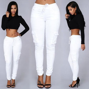 Solid Cotton Long Pants Women Elastic Waist Pockets Loose Pants Plus Size 2XL Casual Trousers Leisure Pants Black White //-geekbuyig