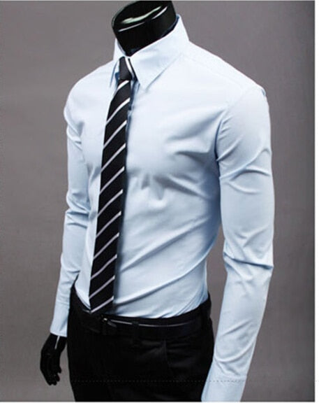 Luxury Mens Stylish Casual Turn down neck Shirt Slim Fit Formal Long Sleeve 1Pcs Men's shirts blouses-geekbuyig