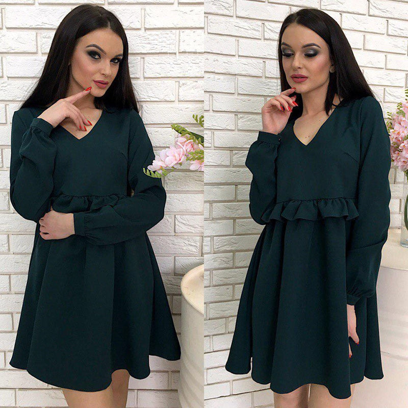 2018 Autumn V-Neck Ruffles Loose Dress Women Lovely Babydoll Solid Long Sleeve Casual Dress Party Mini Dresses-geekbuyig