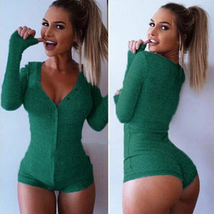 2018 New S-XXXL New Women Jumpsuit Sexy Lady V Neck Long Sleeve Bodycon Bandage Jumpsuit Rompers Plus Size Black Tight Bodysuit-geekbuyig