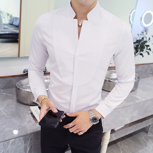 Fall Winter Stand Collar Mens Long-sleeved Dress Shirts Black Red White Slim Elegant Youth Male Business Wedding Formal Shirt-geekbuyig