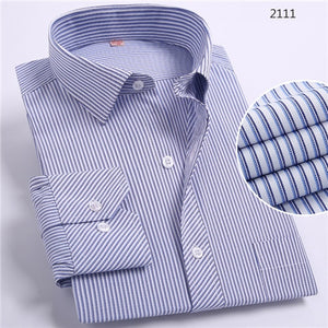 New 8xl Plus Size Large Men Turndown Collar Long sleeve Non-Iron dress striped shirts with chest pocket regular fit male tops-geekbuyig