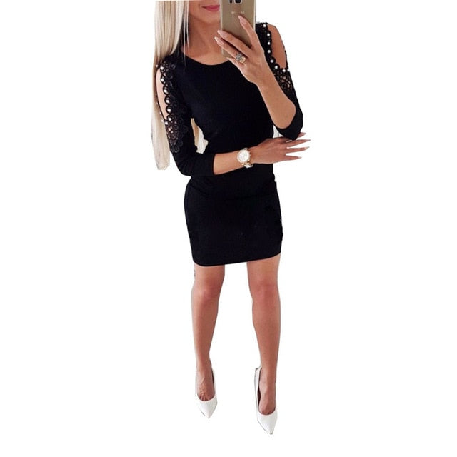 Hirigin Newest Dress Sexy Fashion Women Off Shoulder With Lace Long Sleeve Bodycon Party Evening Mini Pencil Dress Clubwear-geekbuyig