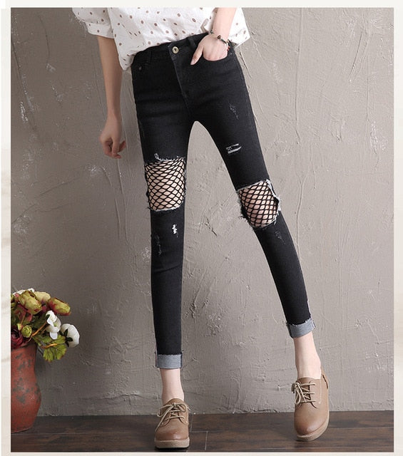 Denim High Waist Skinny Jeans Woman Pants Trousers Push Up Jeans Femme Ripped Fish Net Jeans Ladies Hot Black Blue Jeans Women-geekbuyig