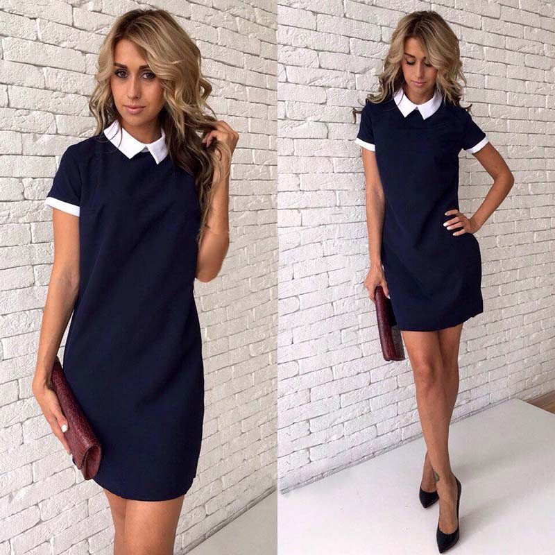 2018 New Women office work white collar OL shirt dress Summer Short sleeve Party Navy blue Pink Straight dress Mini Vestidos-geekbuyig
