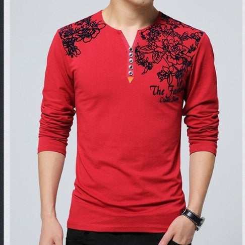 2018 Autumn Fashion Floral Print Men T-shirt Henry Collar Button Decorate Long Sleeve T-shirt for Men Tops Plus Size 5XL-geekbuyig