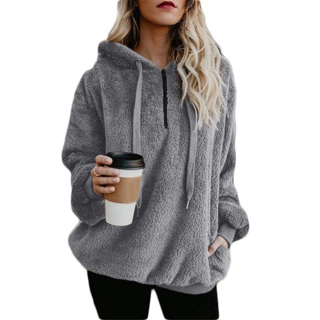 Large Size Women's Jacket Solid Color Piecing Long-Sleeved Hooded Pullover Sweatshirt-geekbuyig