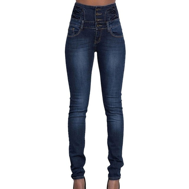 Jeans for Women black Jeans High Waist Jeans Woman High Elastic plus size Stretch Jeans female washed denim skinny pencil pants-geekbuyig