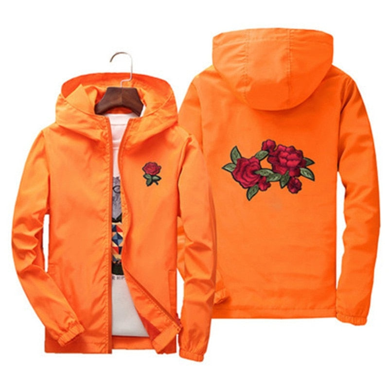 Unisex men women cute rose embroidery jackets Europe Russia spring autumn Pretty style casual orange red zipper hooded Coats-geekbuyig