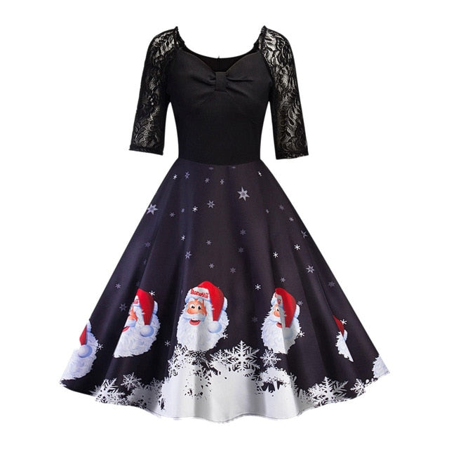 Fashion Female Elegant Sweet Dresses Christmas Women Half Sleeve Lace Patchwork Printing Vintage Gown Party Dress Sexy Vestidos-geekbuyig