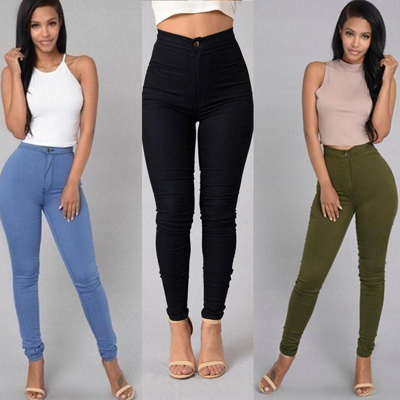Newly Sexy Women Elastic Denim Jean Pants Skinny Pencil High Waiste Candy Color Jeans Trousers-geekbuyig
