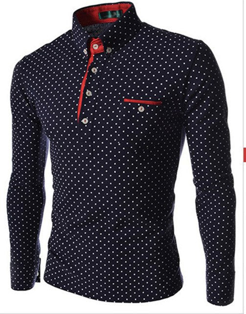 Sell like Hot CakesClassic Casual Men Long Sleeve Shirt Black And White Dot Big Yards Of Cultivate One's Morality 30-geekbuyig