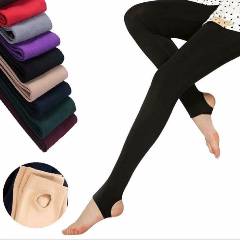 1PCS Autumn Stirrup Leggings Elastic Velvet Thermal Ankle Slim Leggings for Women Casual Pants-geekbuyig