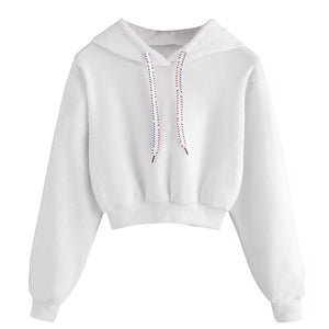 ISHOWTIENDA women hoodies solid sweatshirt Casual Faux Fur Drawstring Crop Hoodie Blouse Woman clothes sudaderas para mujer-geekbuyig