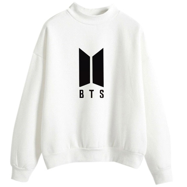 BTS Hoodies For Women Men Bangtan Boys Letter Printed Fans Supportive BTS Hoodie Soft O-Neck Pullovers Chic Black White-geekbuyig