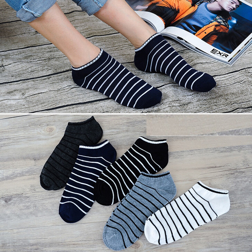 Hot Sale Comfortable 1Pair Unisex Comfortable Stripe Cotton Sock Slippers Short Ankle Socks New Arrival Breathable Soxs-geekbuyig
