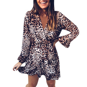 V-Neck Mini Dress Women Leopard Printed Sexy Dress Long FLare Sleeves Dress Plus Size Vestido De Festa Free Shipping #F#40SR23-geekbuyig