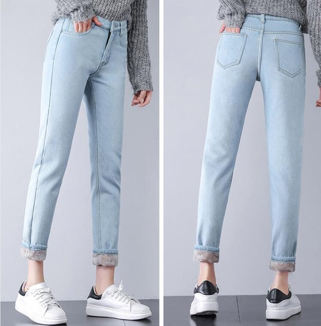 2018 New Plus Velvet Thicker Women Jeans Warm High Waist Trousers Cowboy Pants Loose Denim Jeans Pants Winter Harem Pants Jeans-geekbuyig
