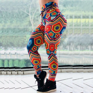 New Arrival Women Jacquard Print Leggings Elastic High Waist Workout Fitness Female Long Leggins-geekbuyig