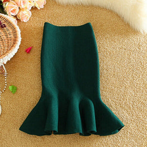Knitted Mermaid Office Lady Women's Midi Skirt Black High Waist Solid Ruffle Party Womens Skirts 2018 Autumn Winter Skirts Women-geekbuyig