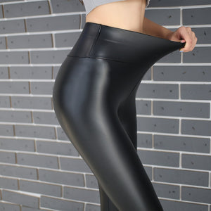 2018 New Winter Warm Elastic Velvet Pants Thick Women Pants PU Trousers High Waist Skinny Women's Plus Size 5XL Pencil Trousers-geekbuyig